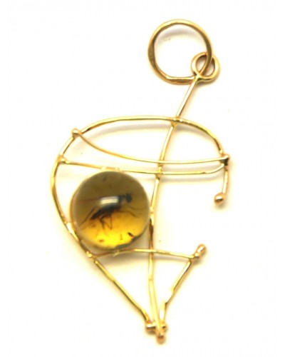 Baltic amber gold pendant with insects